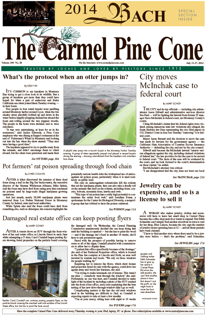 The July 11, 2014, front page of The Carmel Pine                 Cone