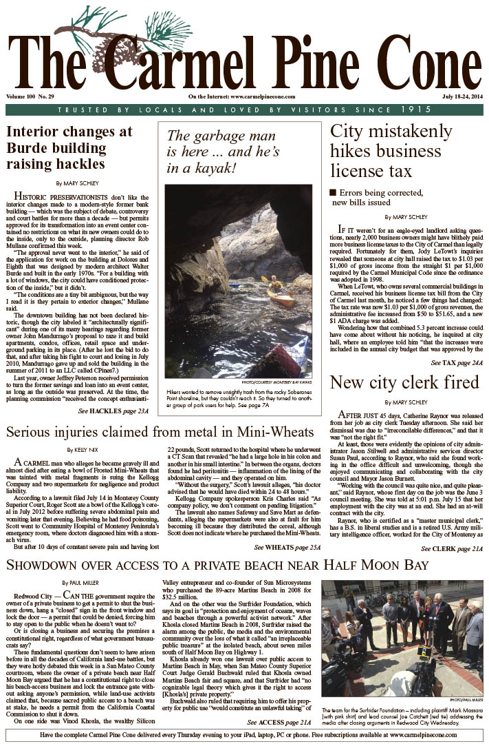 The July 18, 2014, front page of The Carmel Pine                 Cone