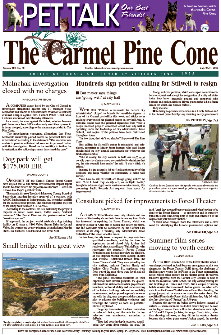 The July 25, 2014, front page of The Carmel Pine                 Cone