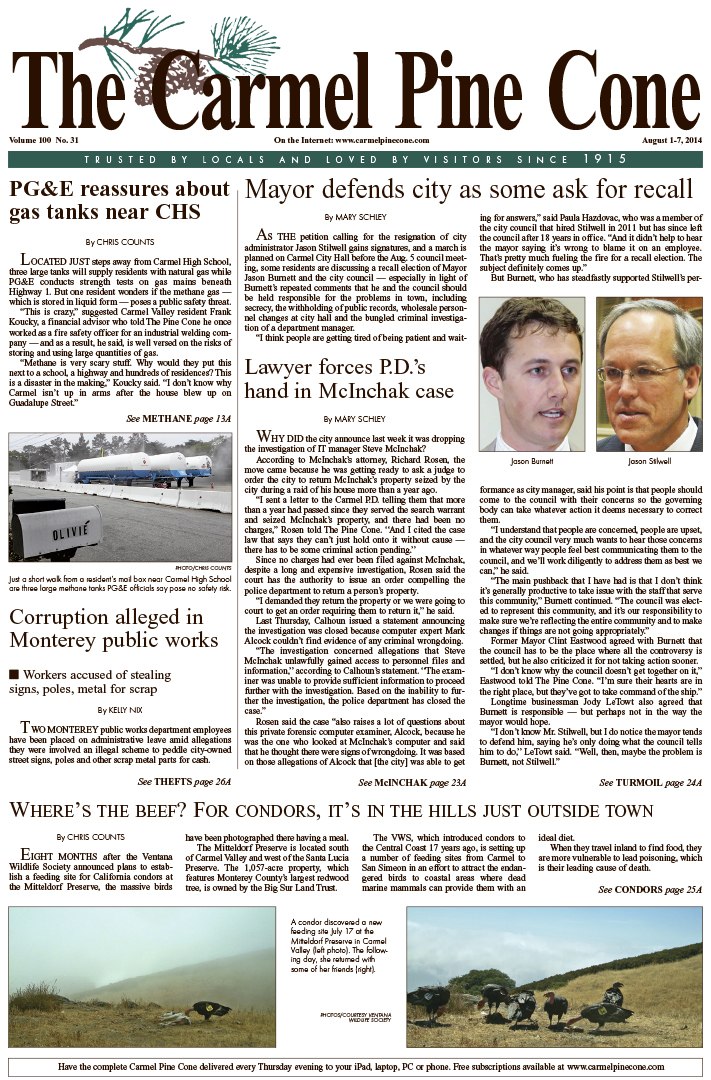 The August 1, 2014, front page of The Carmel Pine                 Cone