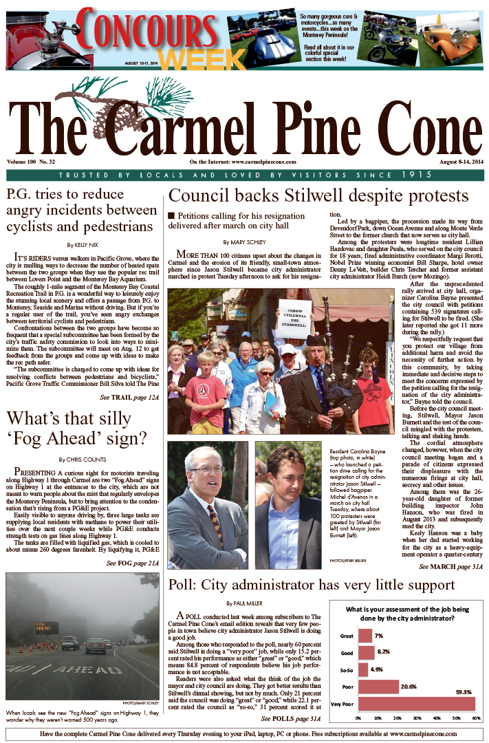 The August 8, 2014, front page of The Carmel Pine                 Cone