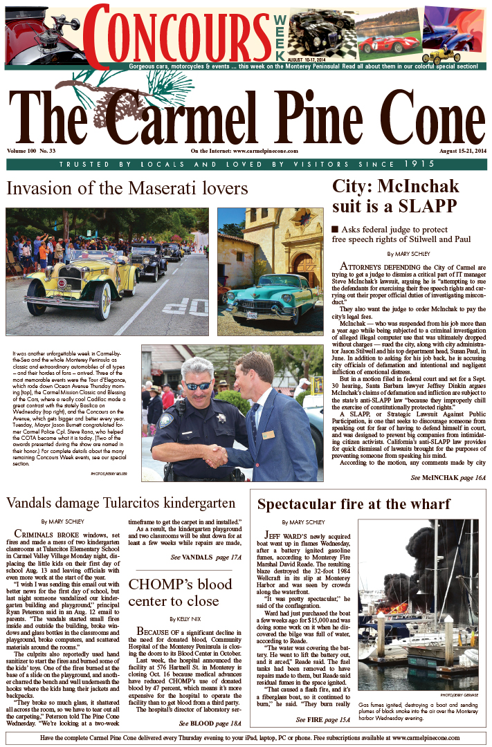 The August 15, 2014, front page of The Carmel Pine                 Cone