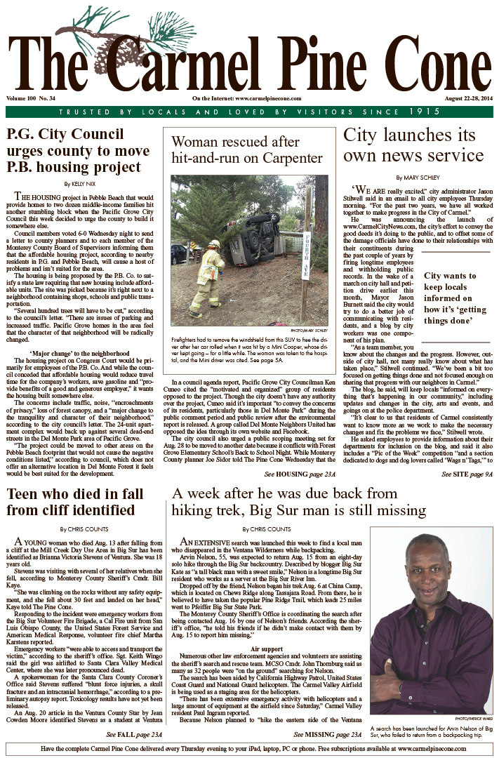 The August 22, 2014, front page of The Carmel Pine                 Cone