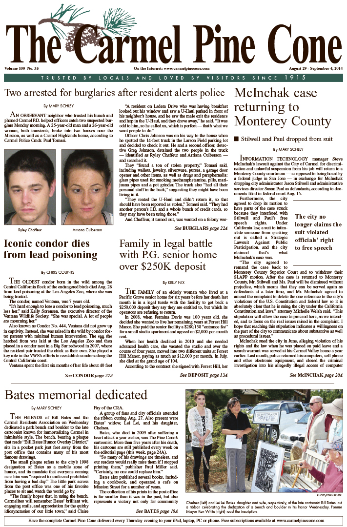 The August 29, 2014, front page of The Carmel Pine                 Cone