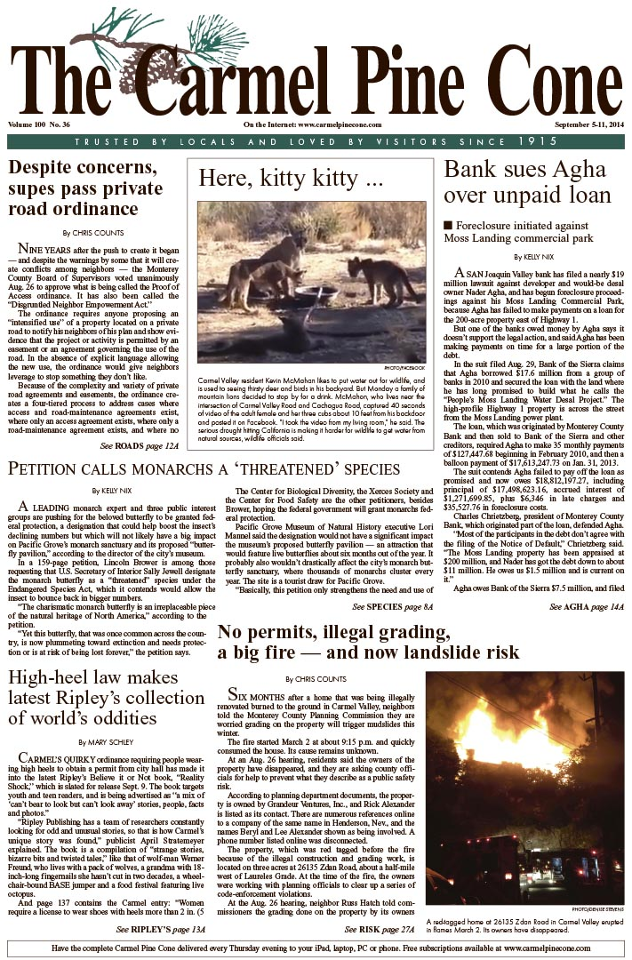 The September 5, 2014, front page of The Carmel                 Pine Cone