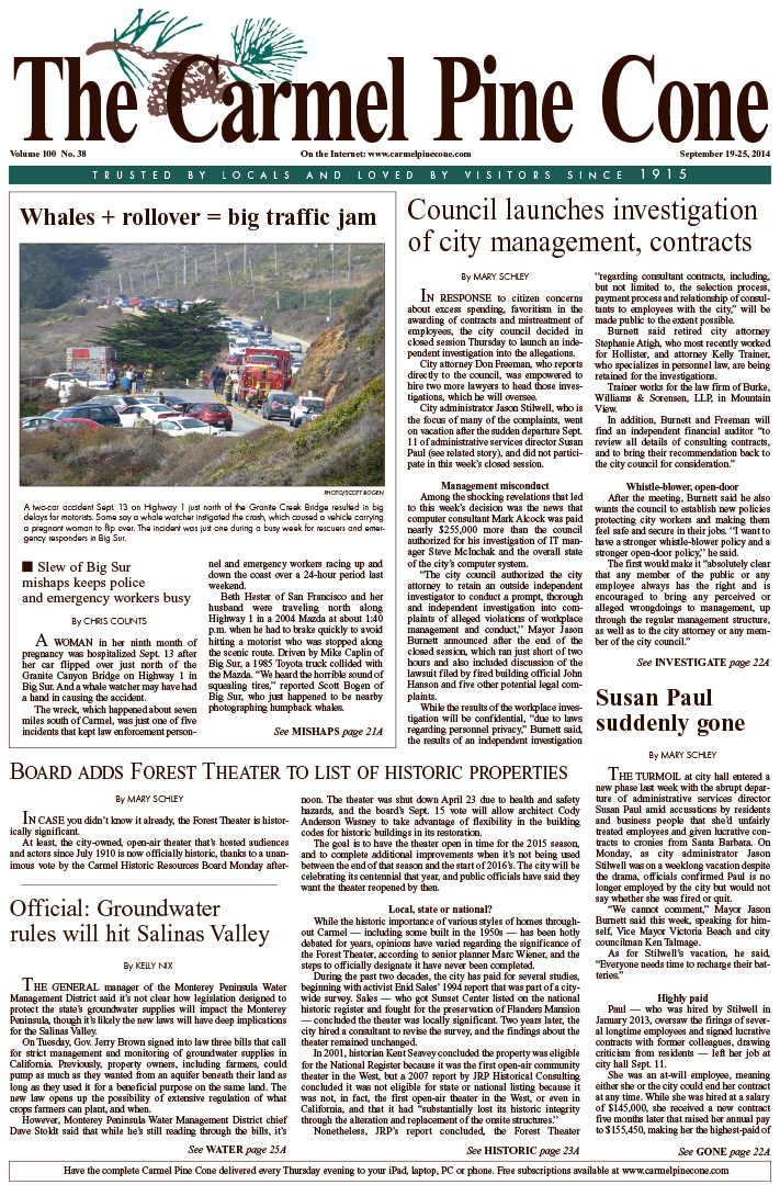 The September 19, 2014, front page of The Carmel                 Pine Cone