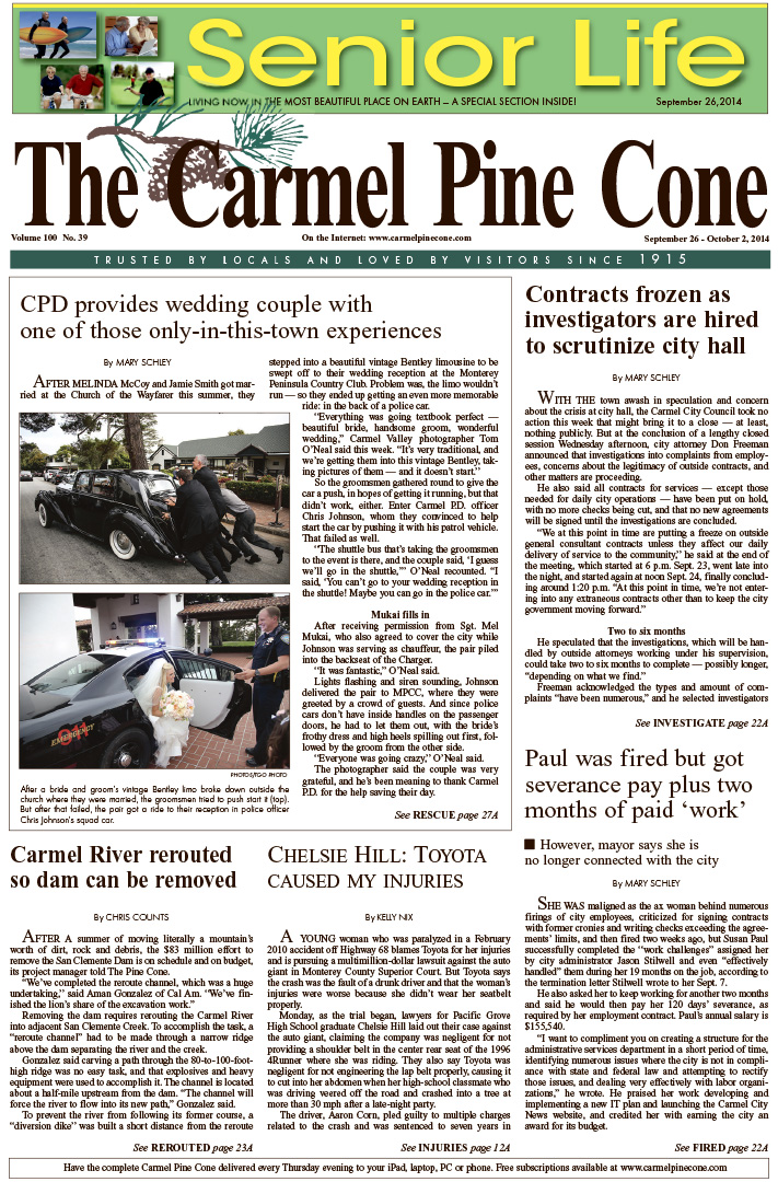 The September 26, 2014, front page of The Carmel                 Pine Cone