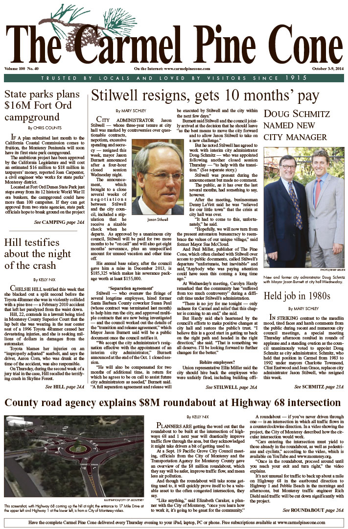 The October 3, 2014, front page of The Carmel Pine                 Cone