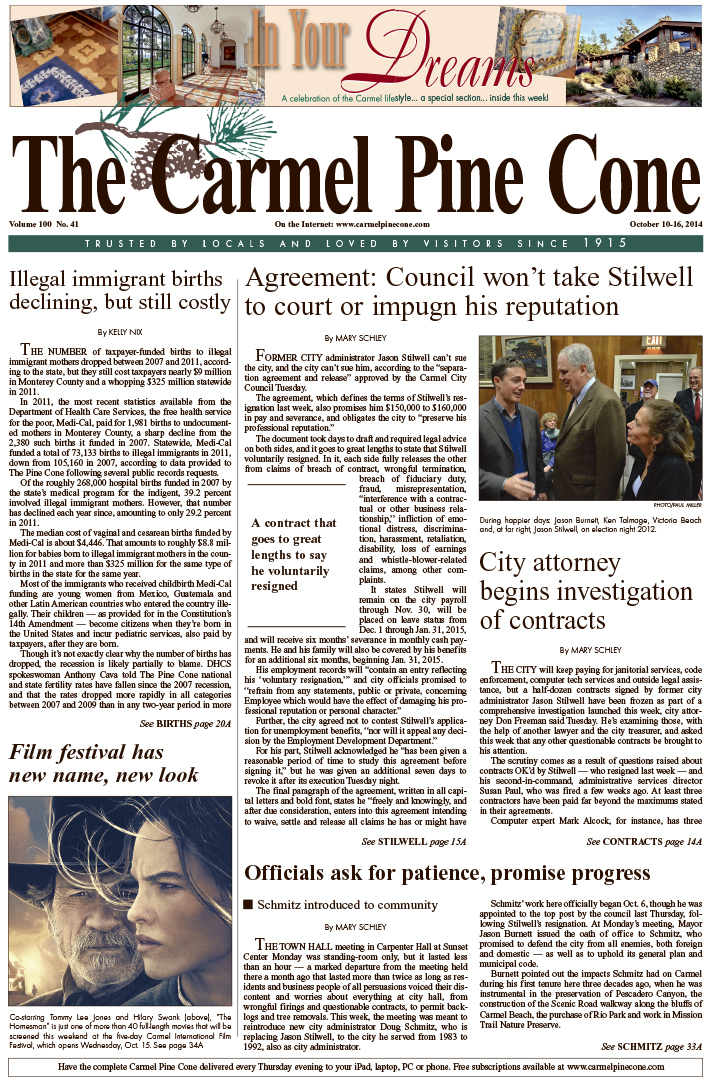 The October 10, 2014, front page of The Carmel Pine                 Cone