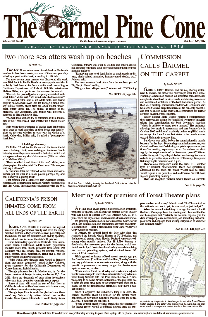 The October 17, 2014, front page of The Carmel Pine                 Cone
