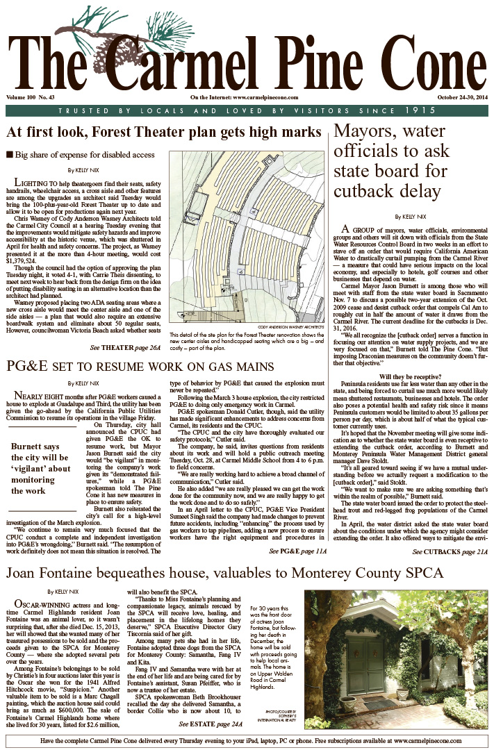 The October 24, 2014, front page of The Carmel Pine                 Cone