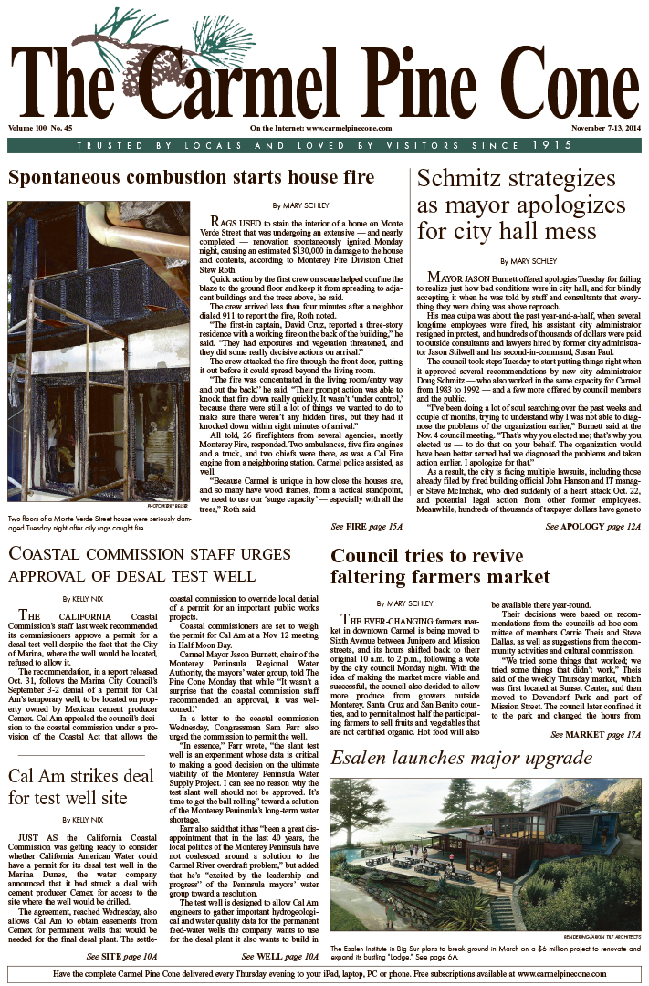 The November 7, 2014, front page of The Carmel Pine                 Cone
