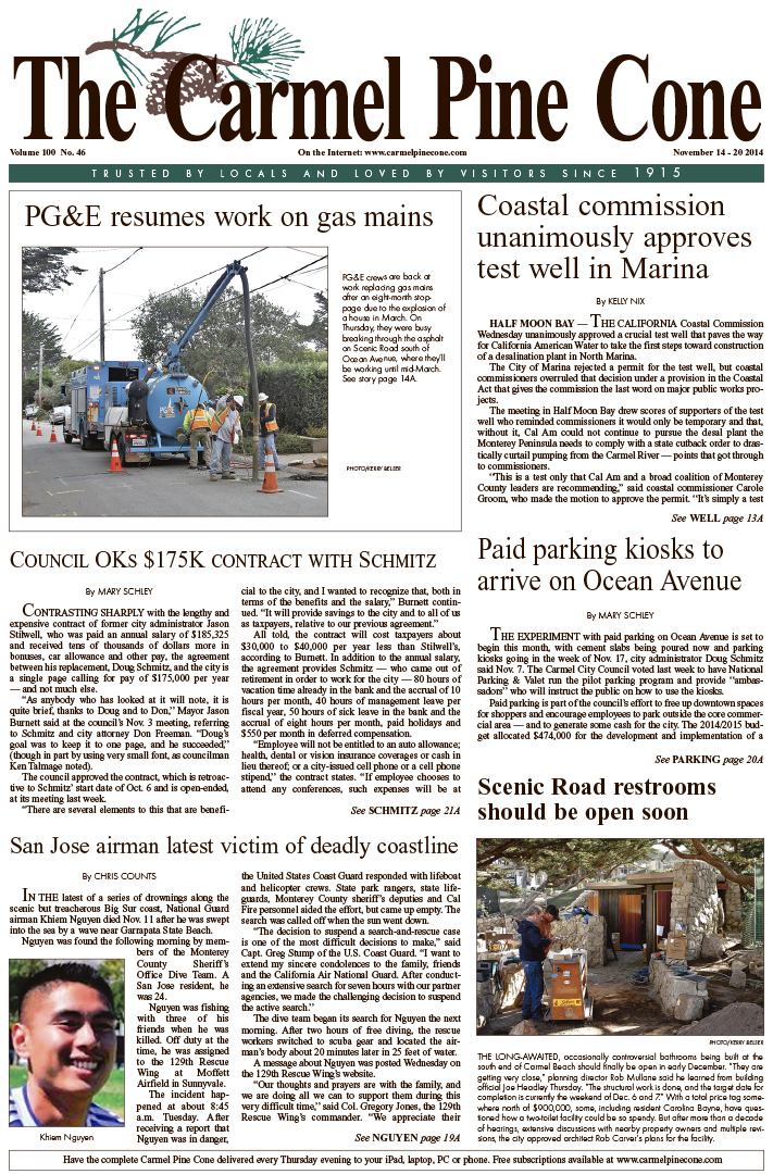 The November 14, 2014, front page of The Carmel                 Pine Cone