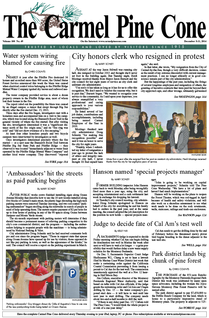 The December 5, 2014, front page of The Carmel Pine                 Cone