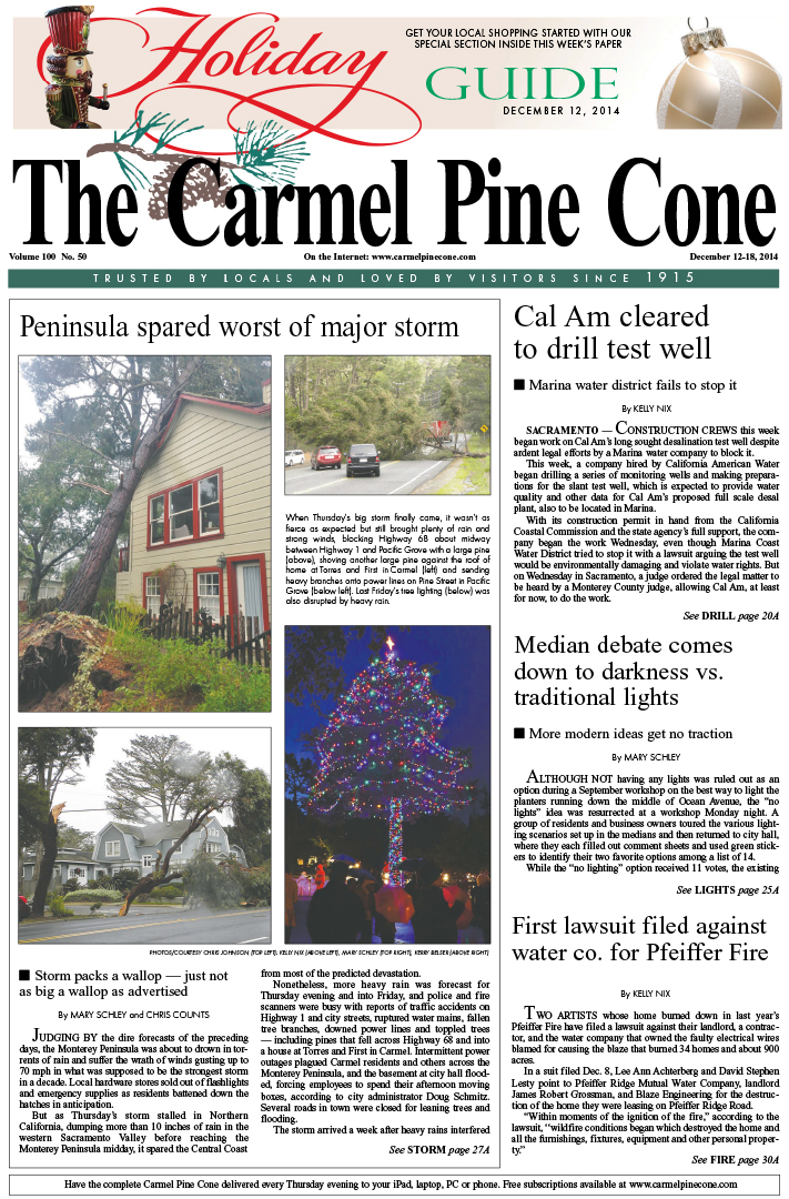 The December 12, 2014, front page of The Carmel                 Pine Cone