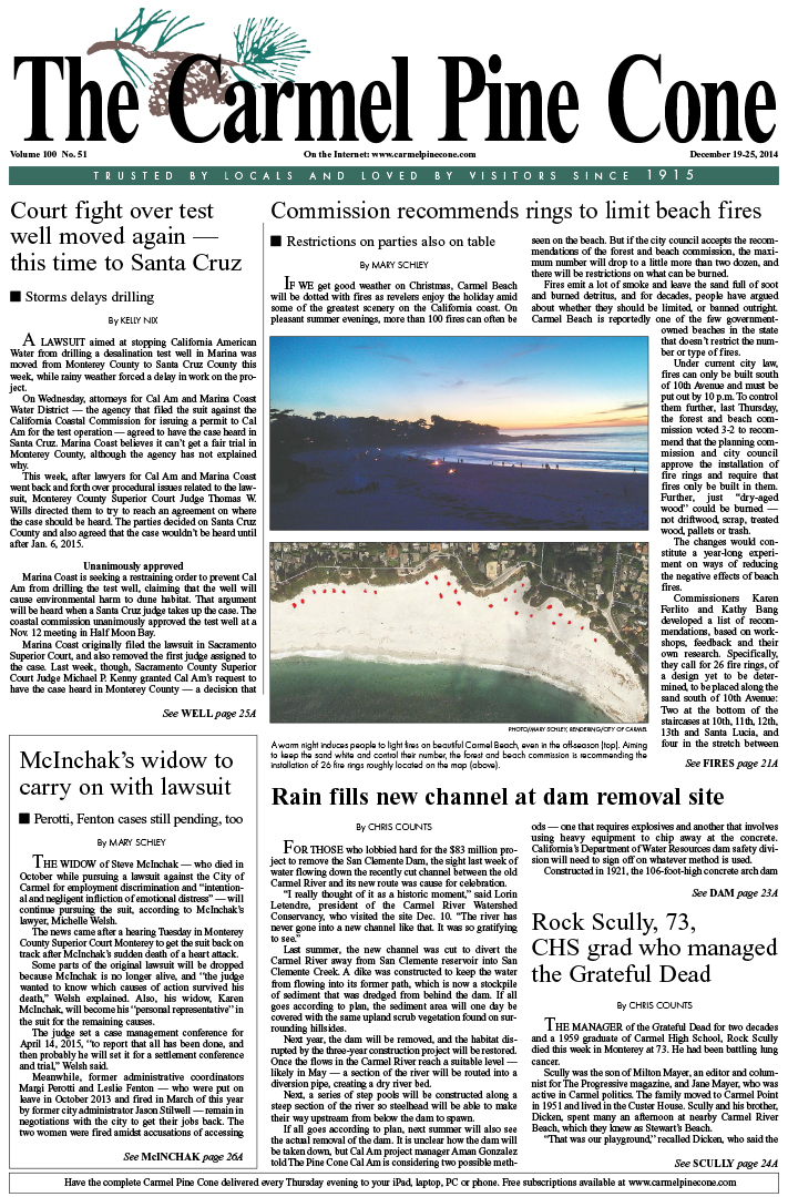 The December 19, 2014, front page of The Carmel                 Pine Cone