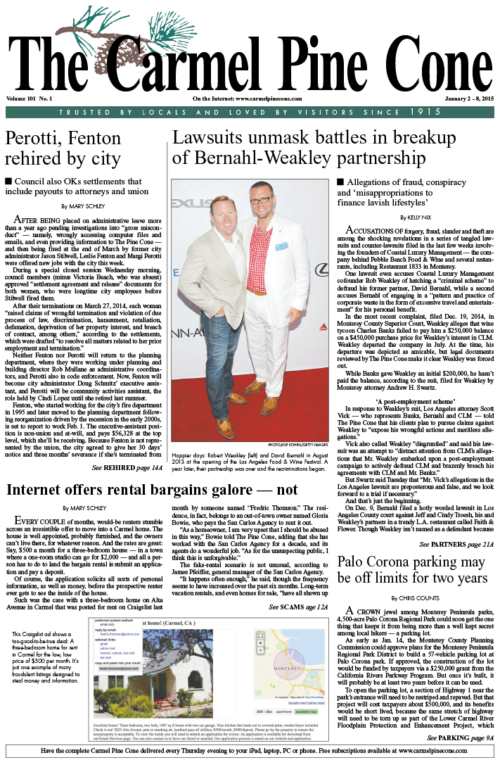 The January 2, 2015, front page of The Carmel Pine                 Cone