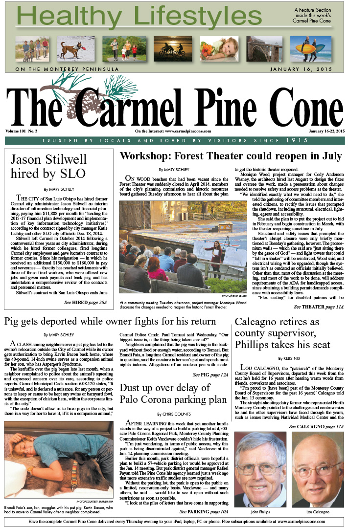 The January 16, 2015, front page of The Carmel Pine                 Cone