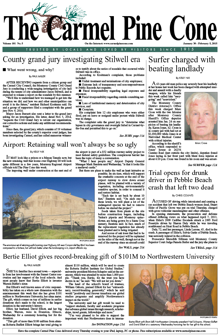 The January 30, 2015, front page of The Carmel Pine                 Cone