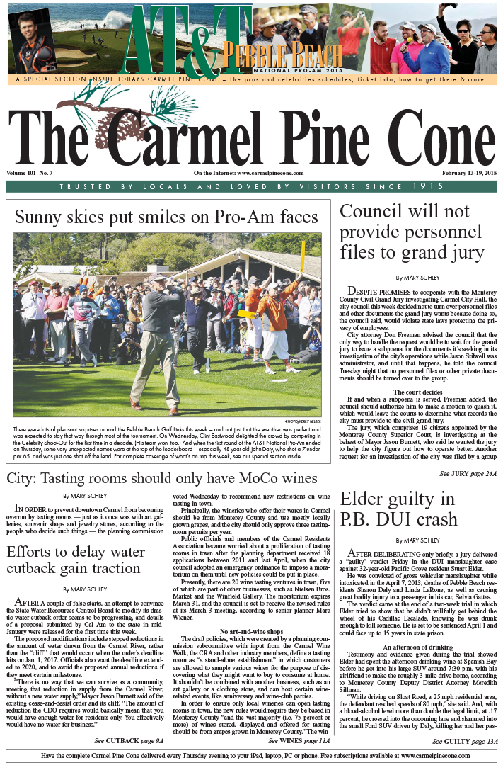 The February 13, 2015, front page of The Carmel                 Pine Cone