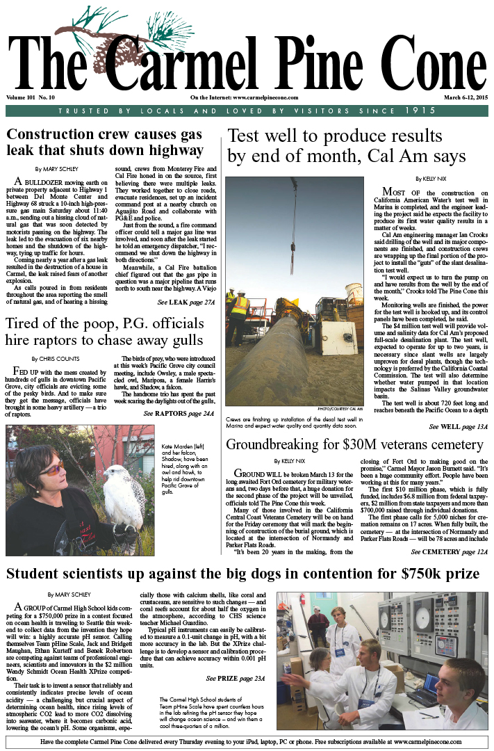 The March 6, 2015, front page of The Carmel Pine                 Cone