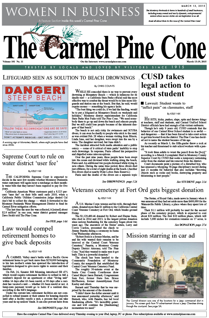 The March 13, 2015, front page of The Carmel Pine                 Cone