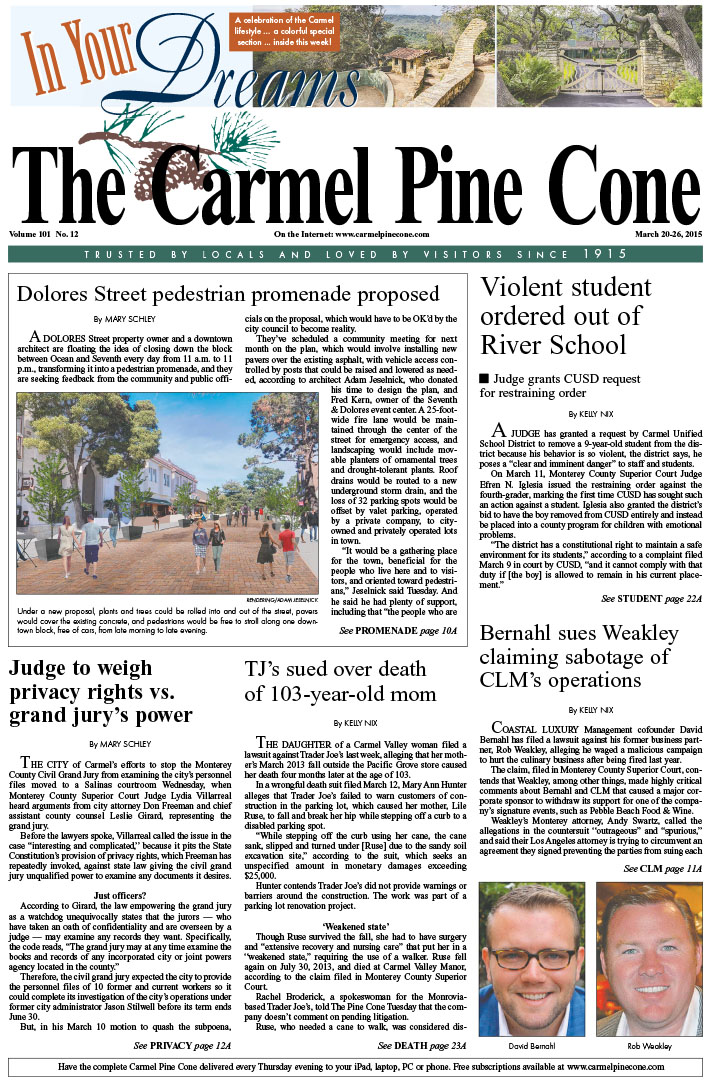 The March 20, 2015, front page of The Carmel Pine                 Cone