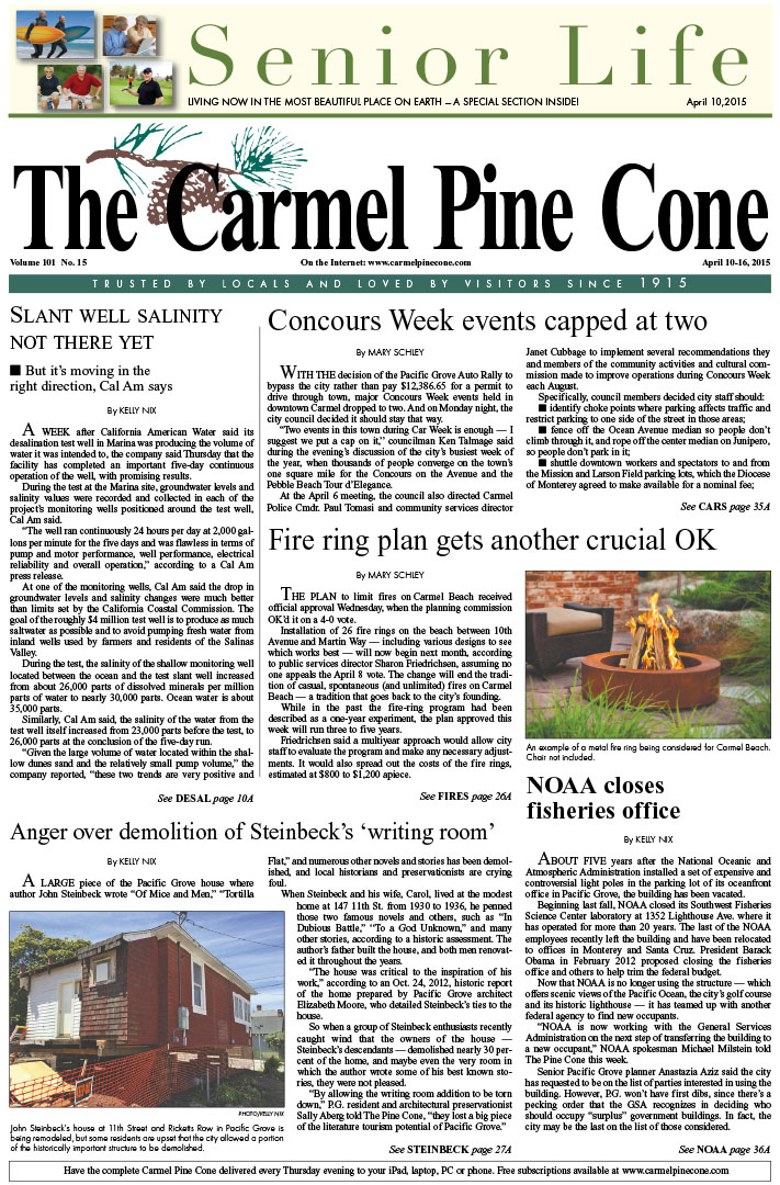 The April 10, 2015, front page of The Carmel Pine                 Cone