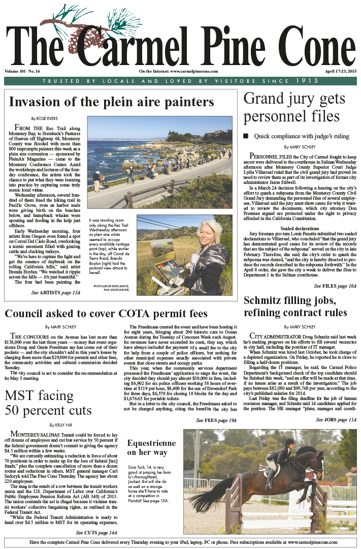 The April 17, 2015, front page of The Carmel Pine                 Cone