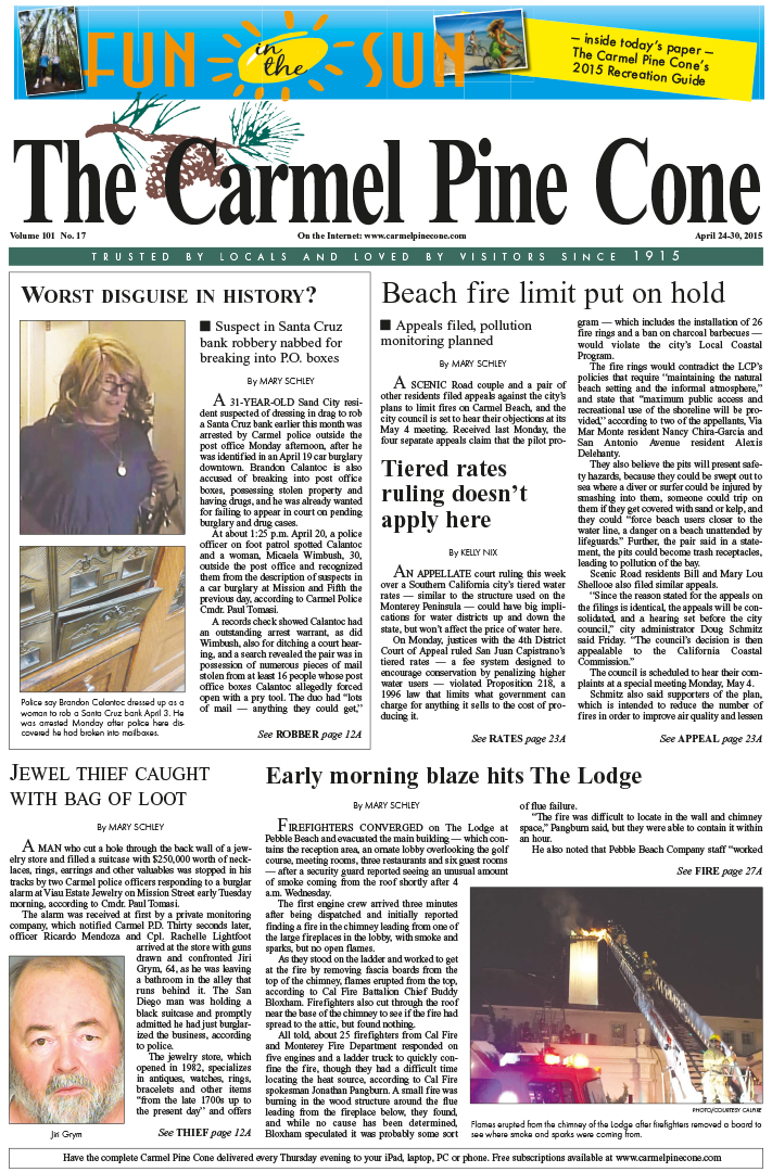 The April 24, 2015, front page of The Carmel Pine                 Cone
