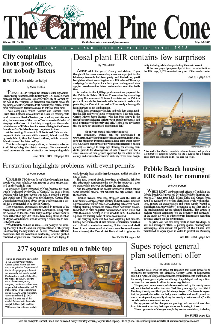 The May 1, 2015, front page of The Carmel Pine                 Cone
