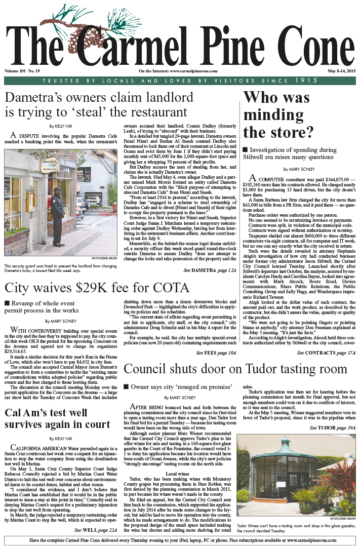 The May 8, 2015, front page of The Carmel Pine                 Cone