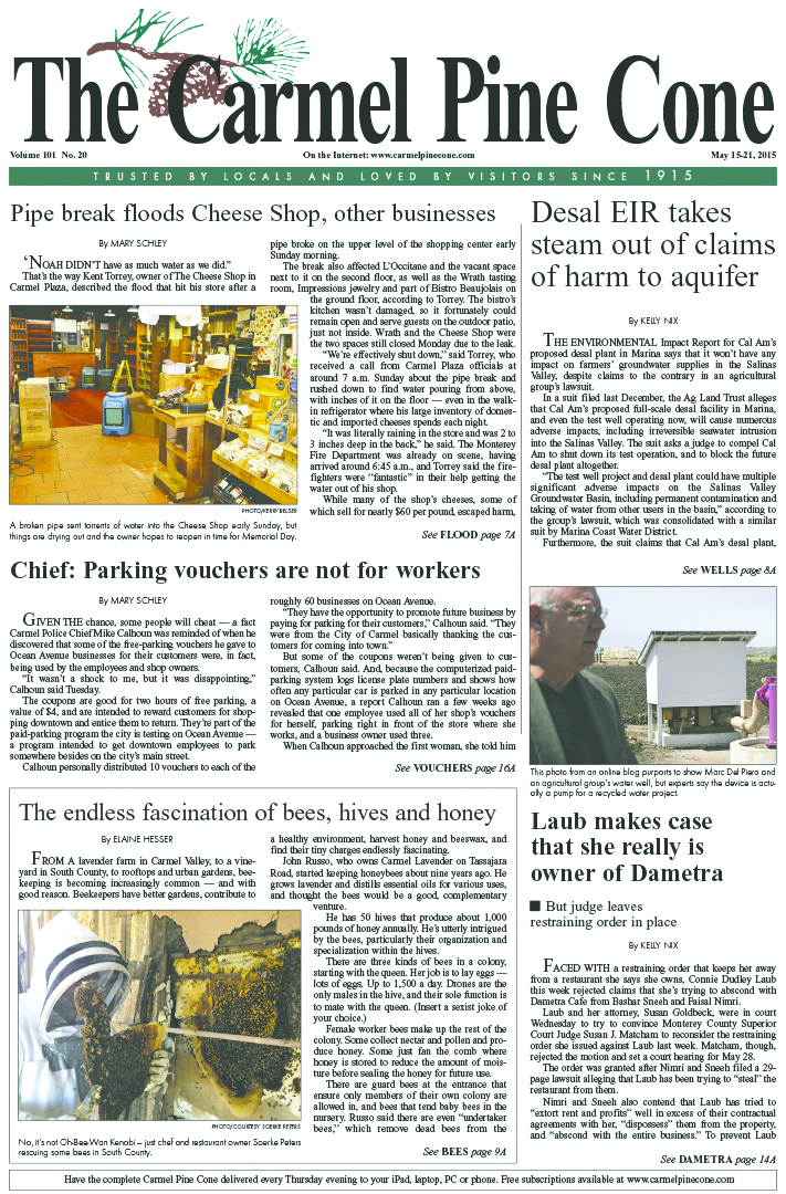 The May 15, 2015, front page of The Carmel Pine                 Cone