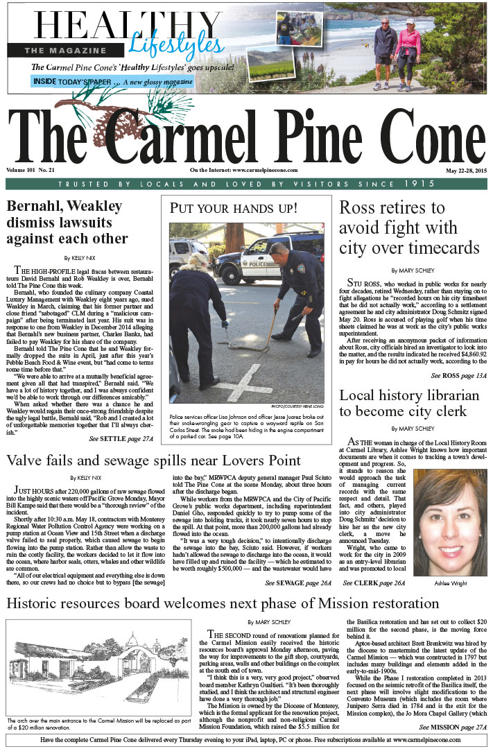 The May 22, 2015, front page of The Carmel Pine                 Cone