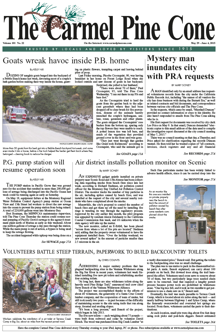 The May 29, 2015, front page of The Carmel Pine                 Cone