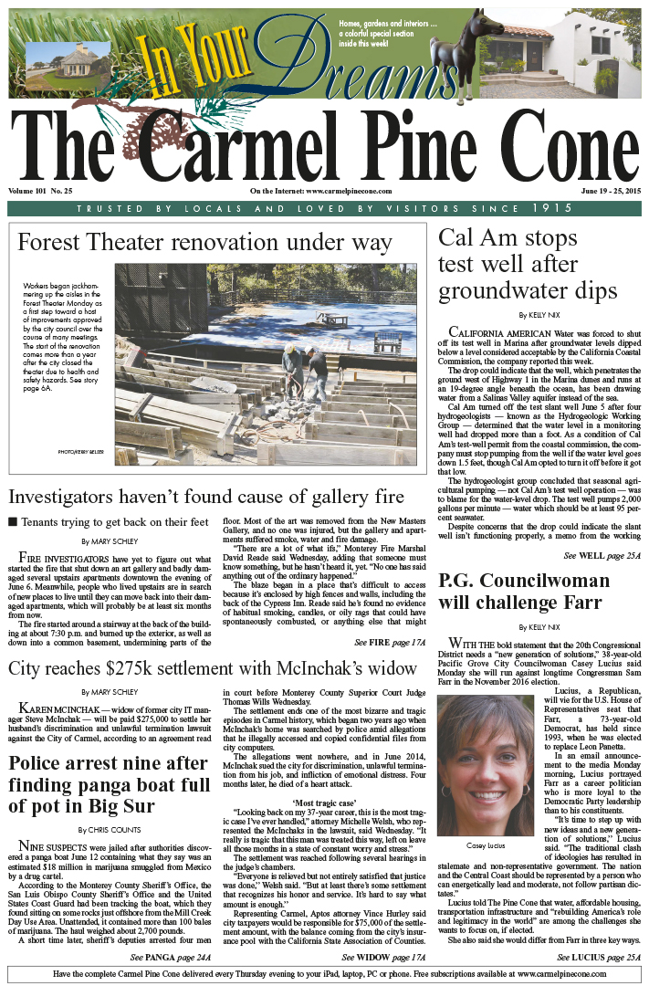 The June 19, 2015, front page of The Carmel Pine                 Cone