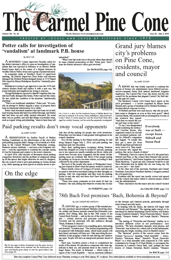 The June 26, 2015, front page of The Carmel Pine                 Cone