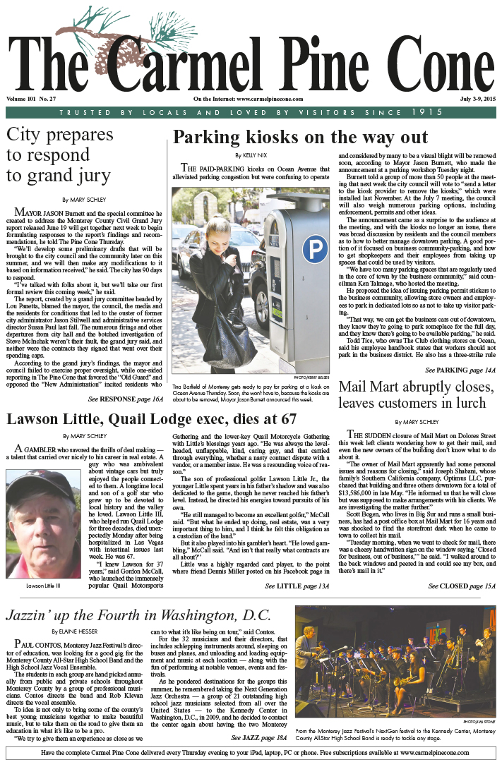 The July 3, 2015, front page of The Carmel Pine                 Cone