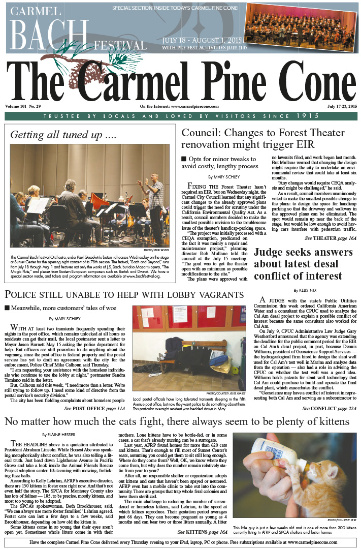 The July 17, 2015, front page of The Carmel Pine                 Cone