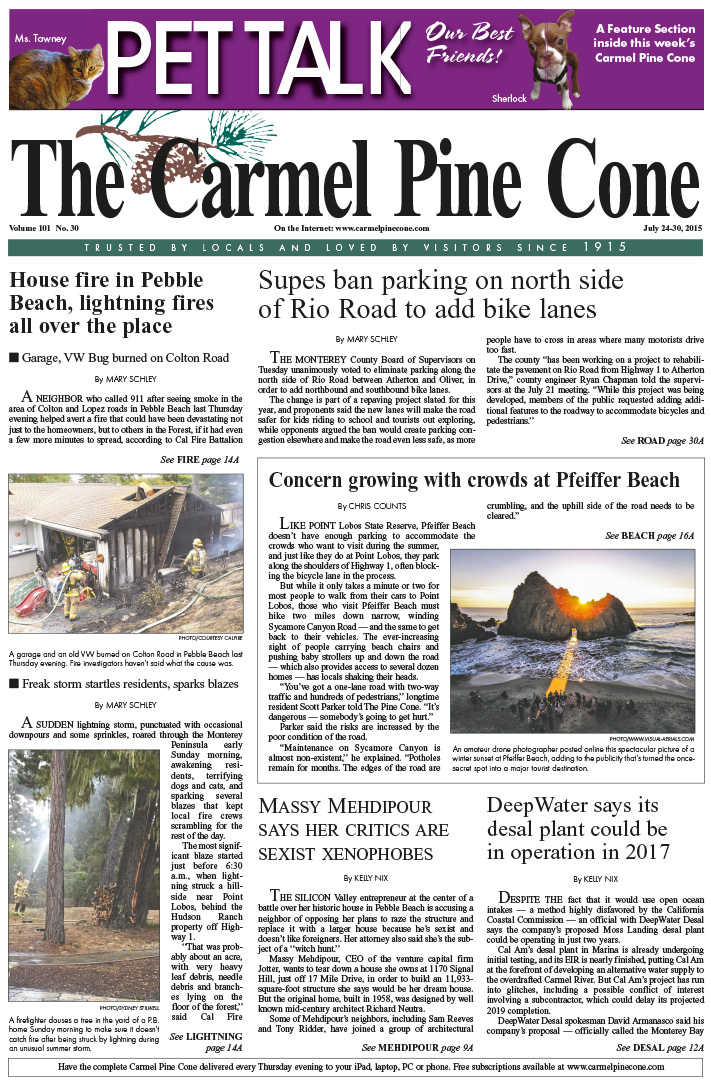 The July 24, 2015, front page of The Carmel Pine                 Cone