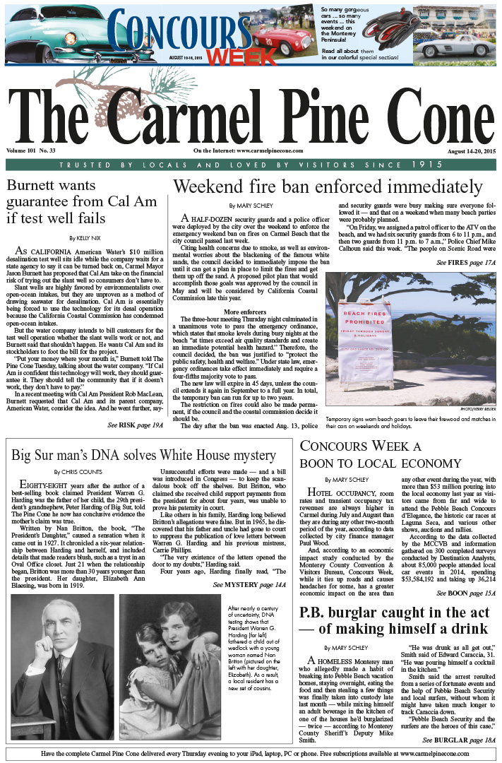 The August 14, 2015, front page of The Carmel Pine                 Cone