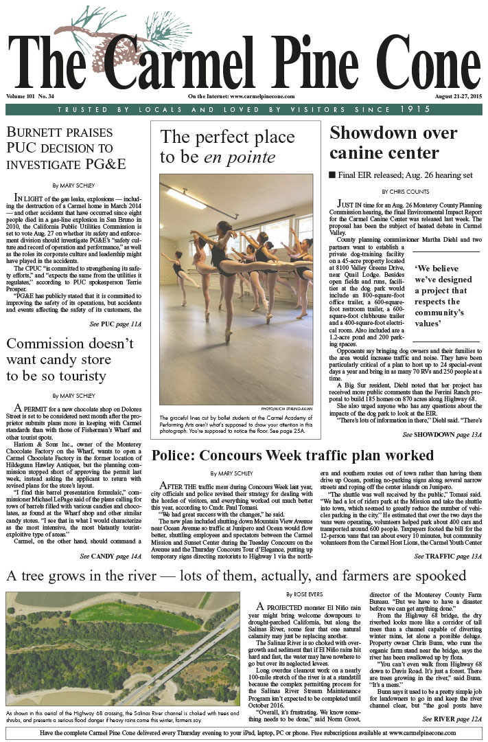 The August 21, 2015, front page of The Carmel Pine                 Cone
