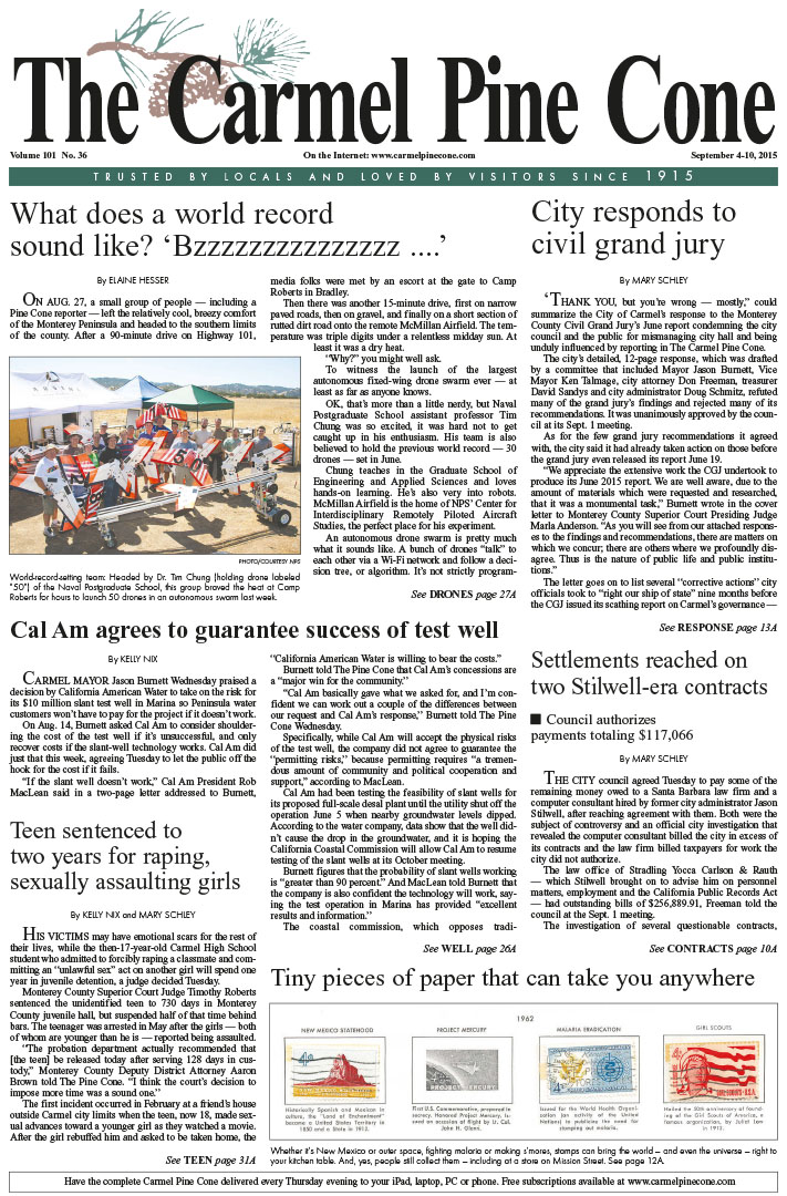 The September 4, 2015, front page of The Carmel                 Pine Cone