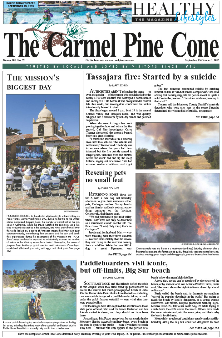 The September 25, 2015, front page of The Carmel                 Pine Cone