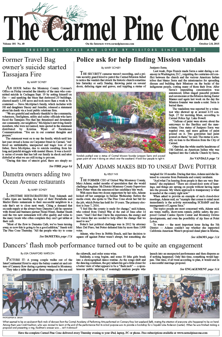 The October 2, 2015, front page of The Carmel Pine                 Cone