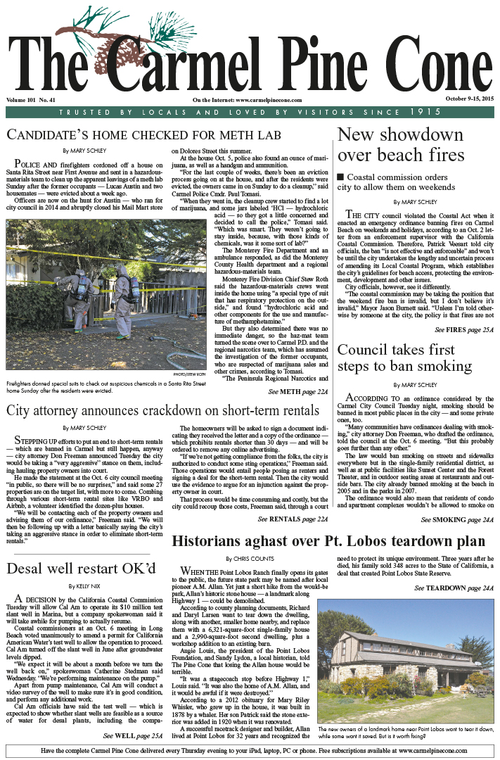 The October 9, 2015, front page of The Carmel Pine                 Cone