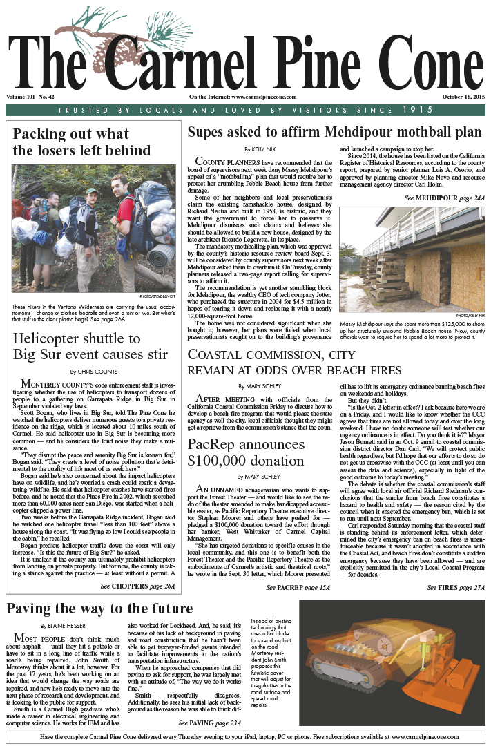 The October 16, 2015, front page of The Carmel Pine                 Cone