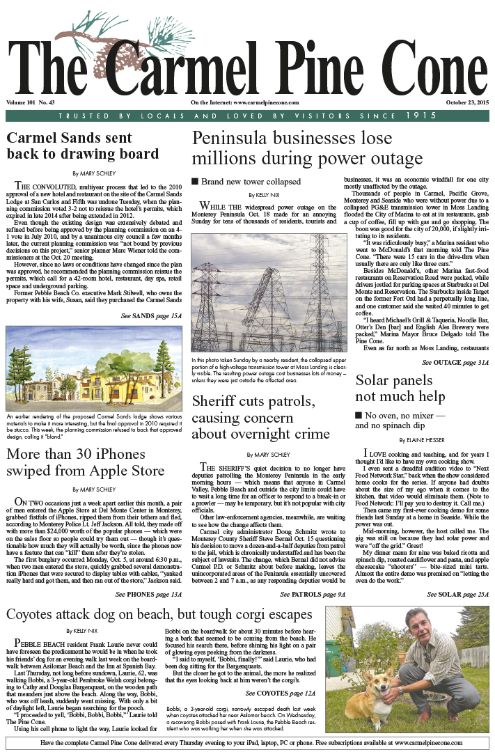 The October 23, 2015, front page of The Carmel Pine                 Cone