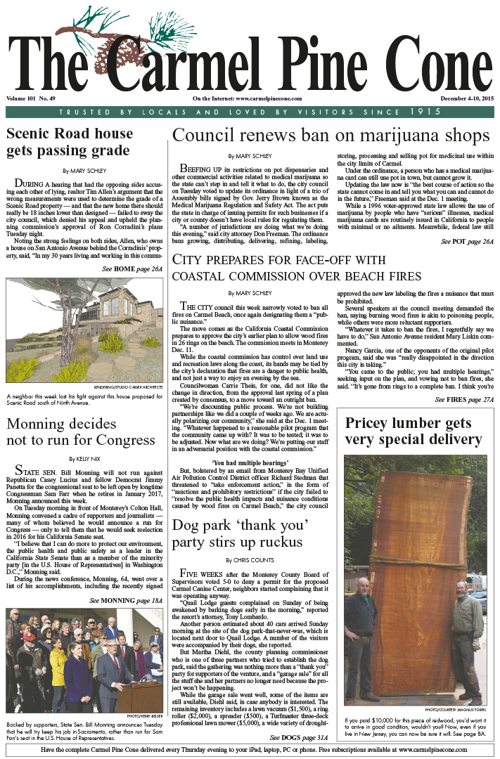 The December 4, 2015, front page of The Carmel Pine                 Cone