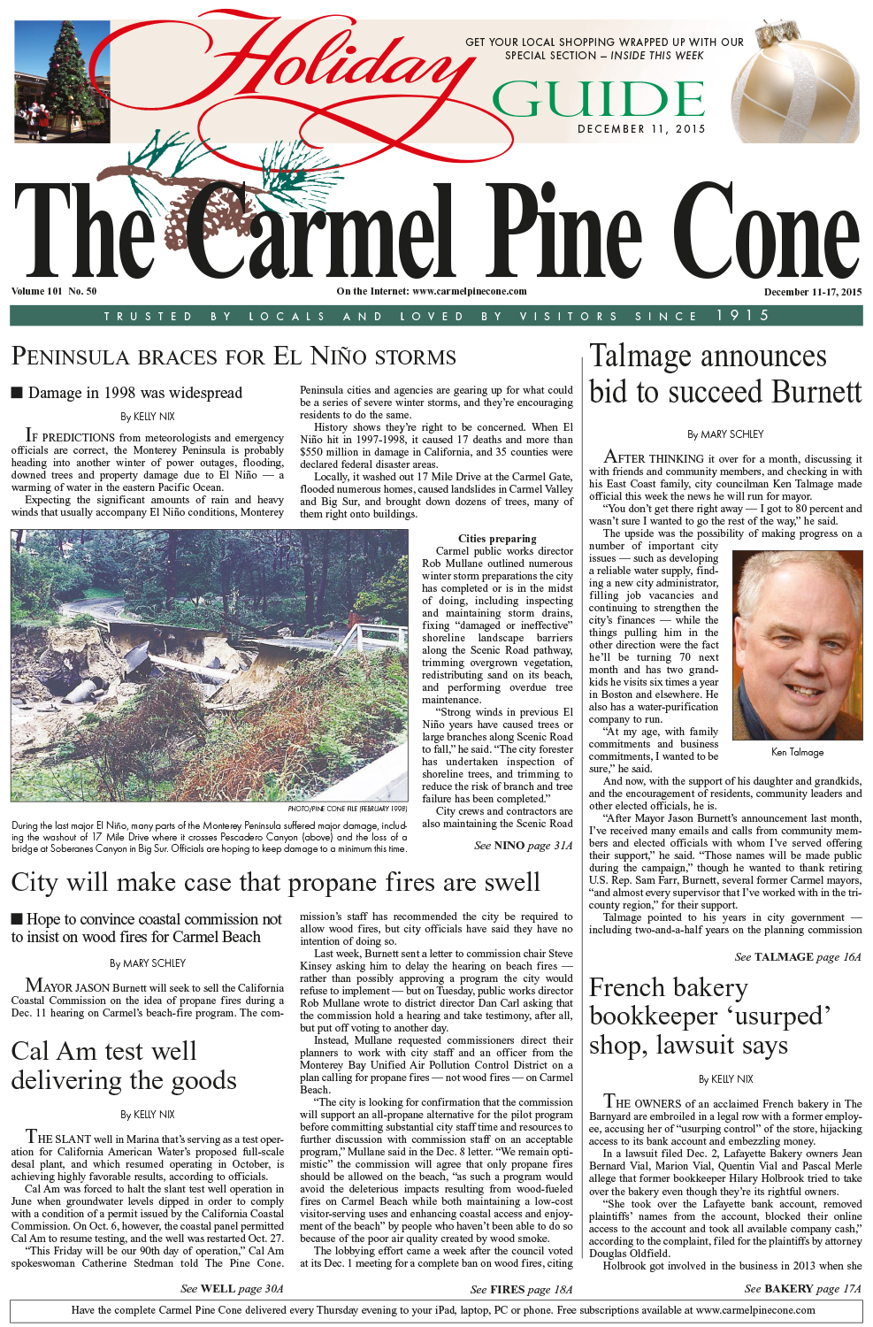 The December 11, 2015, front page of The Carmel                 Pine Cone